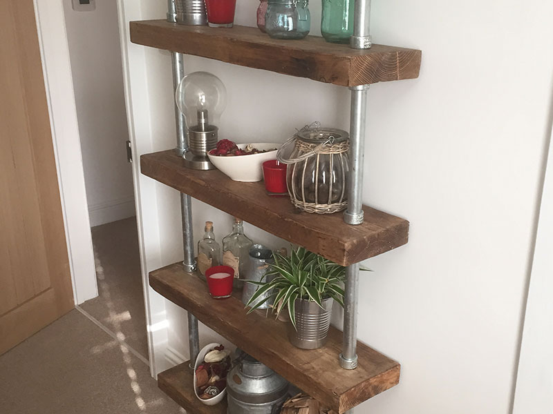 Handmade Bespoke Solid Reclaimed Pine Scaffold Board Shelves